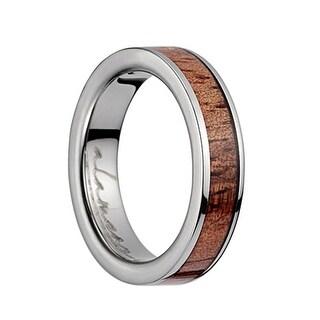 Titanium Flat Wedding Ring With Pink Ivory Inlay & Polished Edges -4MM