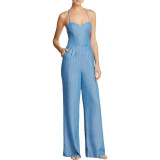 Lovers + Friends Womens Anna Jumpsuit Chambray Open Back