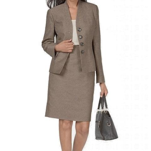 Le Suit Women's Skirt Suit Set Brown Size 4 Four-ButtonStand Collar