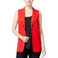 Kensie Womens Casual Vest Crepe Open Front