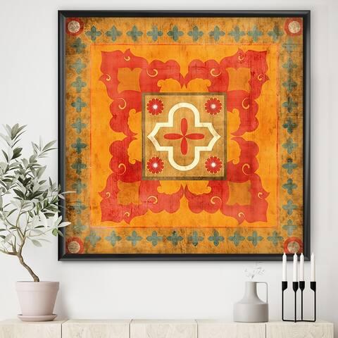 Designart 'Moroccan Orange Tiles Collage II' Bohemian Chic Framed Art Print
