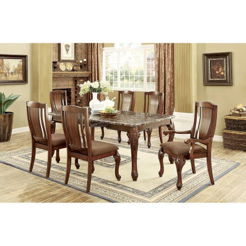 7 Piece Dining Set in Brown Cherry and Brown Finish