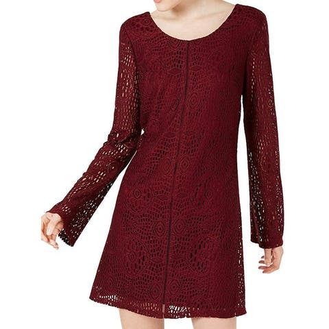 Speechless Junior Dress Wine Red Size Small S Shift Lace-Overlay