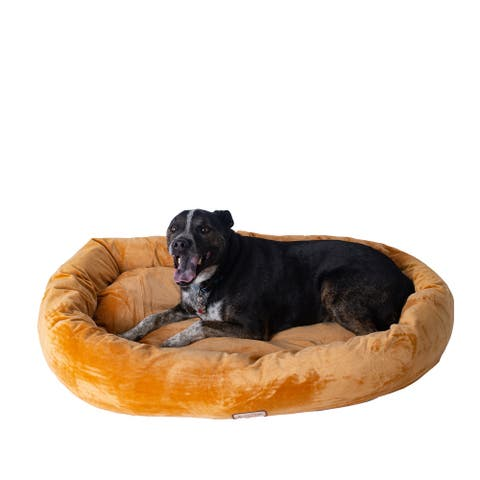 Armarkat Bolstered Pet Bed and Mat, ultra-soft Dog Bed, Brown, Large
