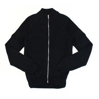 INC Black Mens Size Large L Knit Mock-Neck Rib-Trim Full Zip Sweater