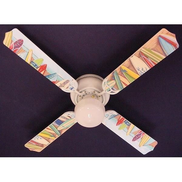 Hawaiian Surf Boards Print Blades 42in Ceiling Fan Light Kit - Multi
