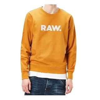 G-Star Raw NEW Gold Mens Size Large L Embossed Logo Crewneck Sweater