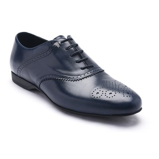 Versace Collections Men Leather Oxford Lace-Up Dress Shoes Dark Blue Navy