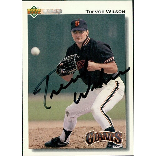 Signed Wilson Trevor San Francisco Giants 1992 Upper Deck Baseball Card Autographed