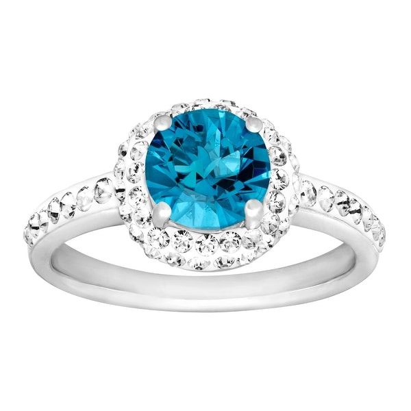 Crystaluxe December Ring with Sky Blue Swarovski Elements Crystals in Sterling Silver
