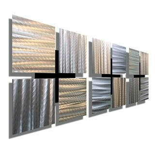 """Statements2000 Silver Metal Wall Art Accent Sculptures by Jon Allen (Set of 3 ) - 3 of a Kind - 12"""" x 12"""""""
