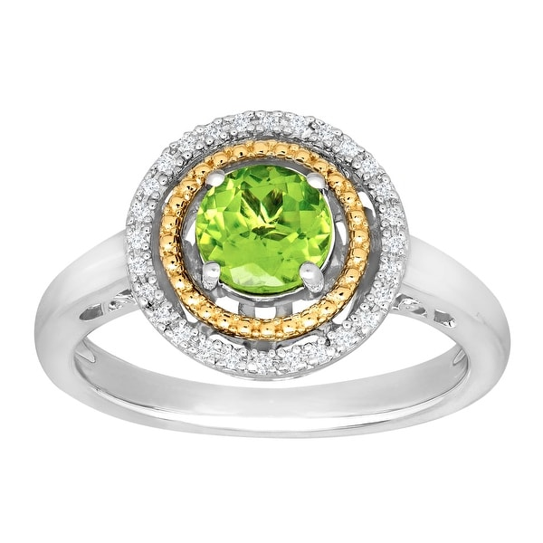 1 ct Natural Peridot Ring with Diamonds in Sterling Silver and 14K Yellow Gold - Green
