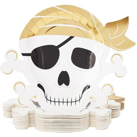 "48 Pirate Paper Plates Skull Crossbones Birthday Party Supplies Baby Shower Gold - 9"" X 9"""