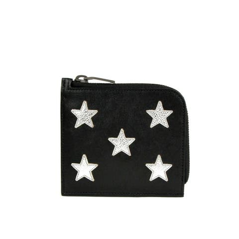 Saint Laurent Men's Black Leather Zip Around Wallet With Silver Stars 417797 1054 - One Size