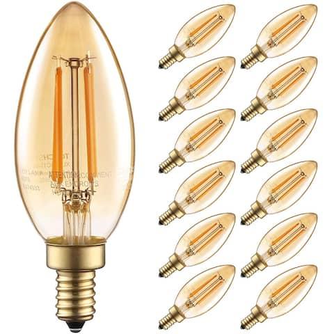 12Pack 2200K Dimmable C11 LED Vintage Candelabra Light Bulb, 4.5W