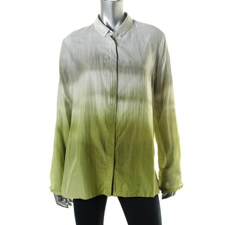 Elie Tahari Womens Silk Blend Ombre Button-Down Top - XS