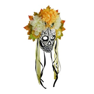 Colorful Day of the Dead Sugar Skull Mask w/Floral Crown