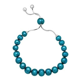 Honora 7-10 mm Freshwater Teal Pearl Bolo Bracelet with Slider in Stainless Steel - Blue|https://ak1.ostkcdn.com/images/products/is/images/direct/2c60128d9d04ec51f9f5f8c777694099a61dbe1d/Honora-7-10-mm-Freshwater-Teal-Pearl-Bolo-Bracelet-with-Slider-in-Stainless-Steel.jpg?impolicy=medium