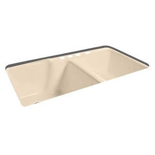 "Miseno MCI37-4TE 36"" Cast Iron Double Basin Kitchen Sink for Undermount Installa"