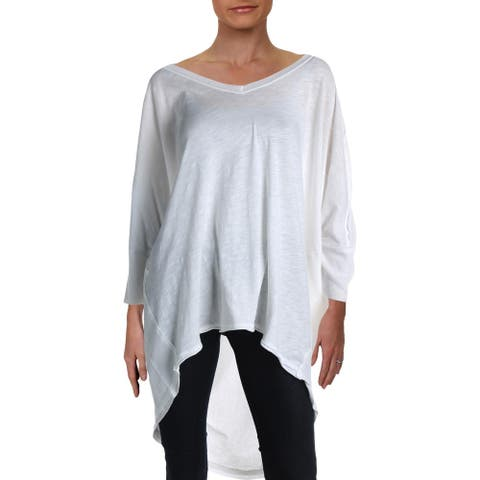 We The Free Womens Catch Waves Pullover Top Ribbed V-Neck - Ivory