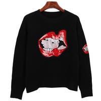 QZUnique Women Crewneck Mouth Lip Print Sweater Long Sleeves Pullover