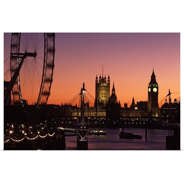 """""""London skyline at sunset with the London Eye, Hungerford Foot Bridge and Parliament"""" Poster Print"""