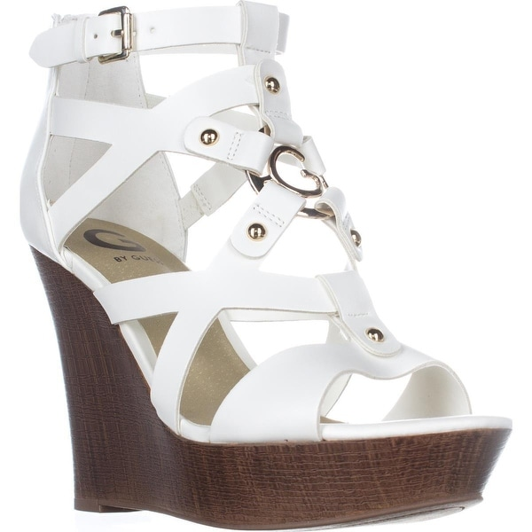 0bba53c543 Shop G by GUESS Dodge Strappy Wedge Sandals, White - Free Shipping ...