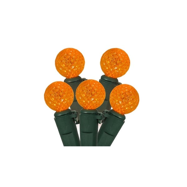 """Set of 50 Orange LED G12 Berry Christmas Lights 4"""" Bulb Spacing - Green Wire"""