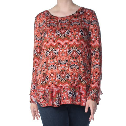FEVER Womens Orange Floral Long Sleeve Jewel Neck Sweater Size L
