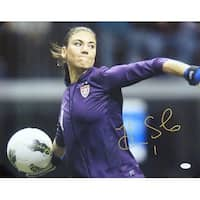 Hope Solo Autographed Team USA Throwing 16x20 Photo JSA PSM