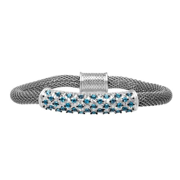 1 1/2 ct Swiss Blue Topaz Bracelet in Sterling Silver