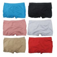 Women 6 Pack Seamless Assorted Solid Color Boyshorts Panties - Multi