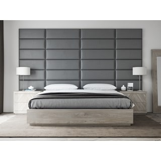 VANT Upholstered Headboards - Accent Wall Panels - Vintage Leather Gray Pewter - 39 Inch Twin-King - Set of 4 panels.