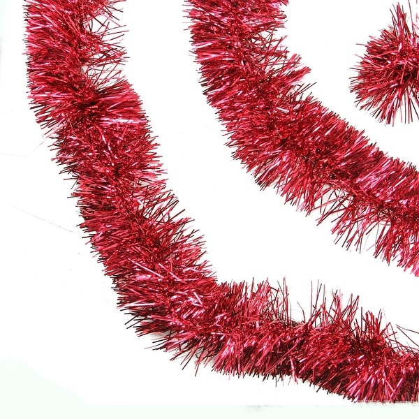50' Traditional Shiny Red 6 Ply Christmas Foil Tinsel Garland - Unlit