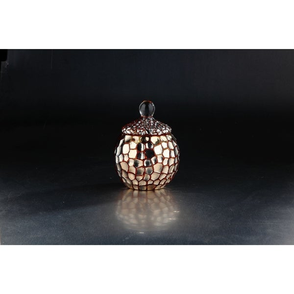 """6.5"""" Gold Bumpy Candy Dish Glass Jar with Lid"""