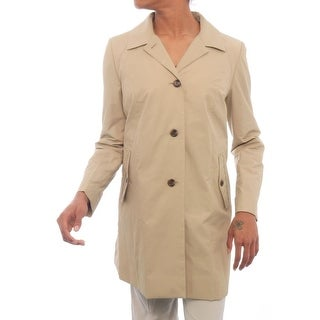 Cole Haan Women Single Button Collar Trench Trench STN (Stone)