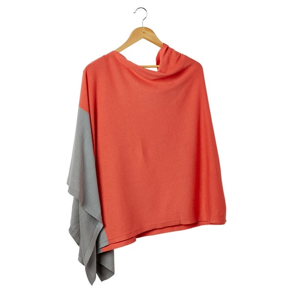 Tickled Pink Aqua & Gray Colorblock Cotton Poncho. Opens flyout.