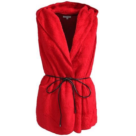 NE PEOPLE Womens Lightweight Faux Fur Hooded Vest with Belt [NEWJ139]