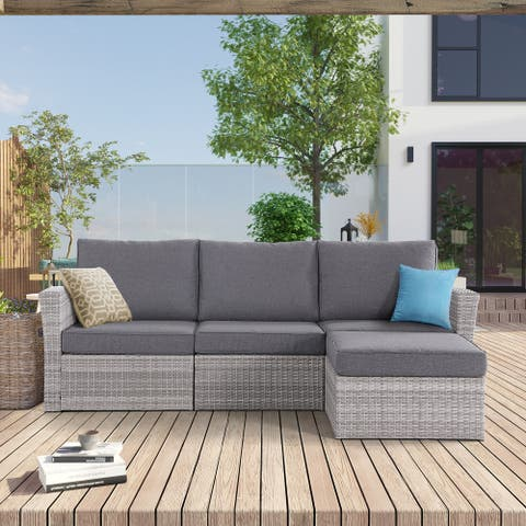 Andrea Contemporary Modern Rattan Wicker Sectional with Plush Cushions