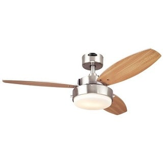 "Westinghouse 7247300 Alloy 42"" 3 Blade Hanging Indoor Ceiling Fan with Reversible Motor, Blades, Light Kit, and Down Rod"