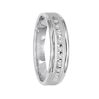 PEMBROOK 14k White Gold Wedding Band Flat Vertical Brushed Finish with Center Row of Diamonds Rolled Edges by ArtCarved- 6mm