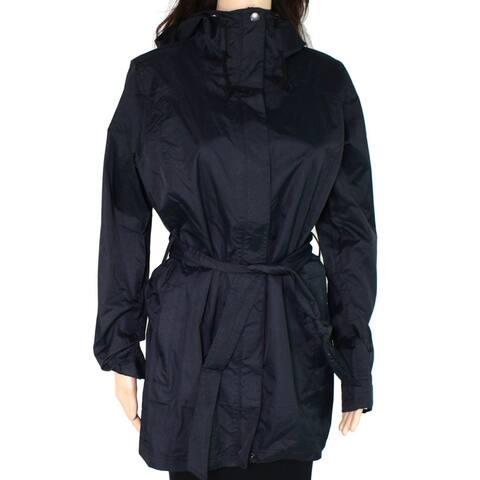 Columbia Womens Jacket Black Size Medium M Tie Waist Hooded Raincoat
