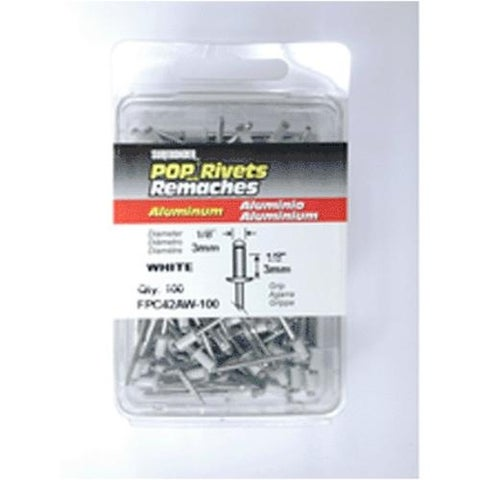 "FPC FPC42AW-100 White Aluminum Rivet 1/8""x1/8"" Short, 100/Pack"