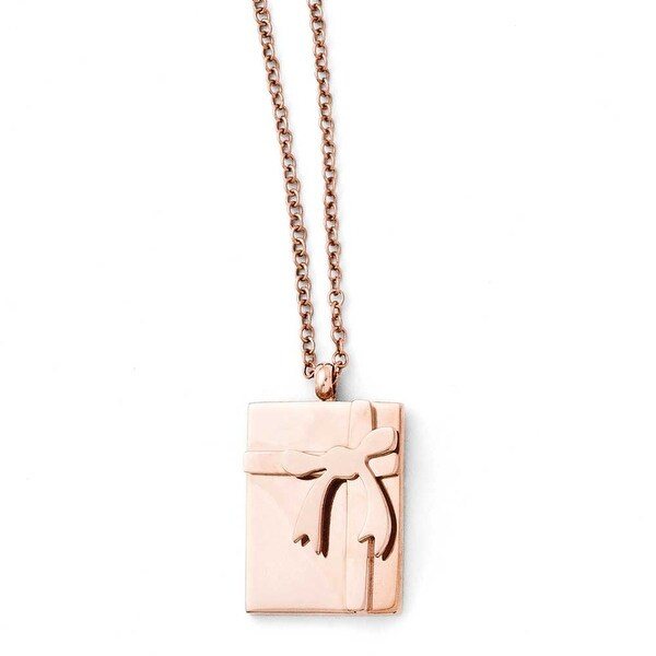 Chisel Stainless Steel Polished Bow with 2.5in ext. Necklace (1 mm) - 16 in