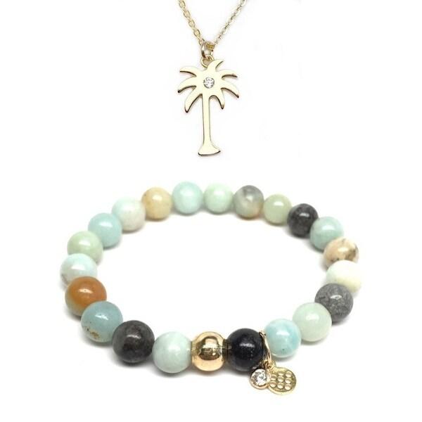 "Green Amazonite 7"" Bracelet & CZ Palm Tree Gold Charm Necklace Set"