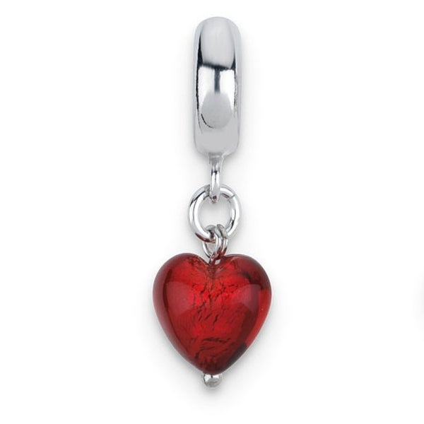 Italian Sterling Silver Reflections Red Heart Dangle Bead (4mm Diameter Hole)