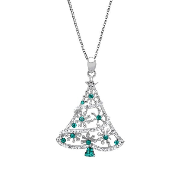 Christmas Tree Pendant with Forest & White Swarovski Crystals in Sterling Silver - Green