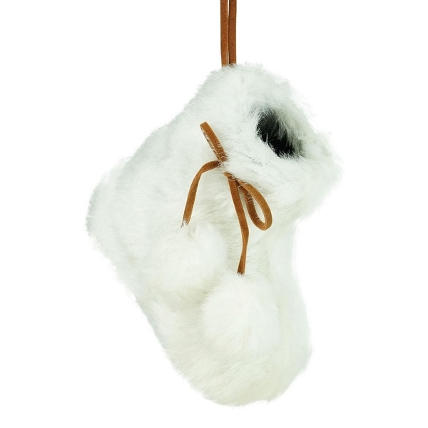 "3"" Winter's Beauty White Faux Fur Bootie Christmas Ornament with Fuzzy Ball Laces"