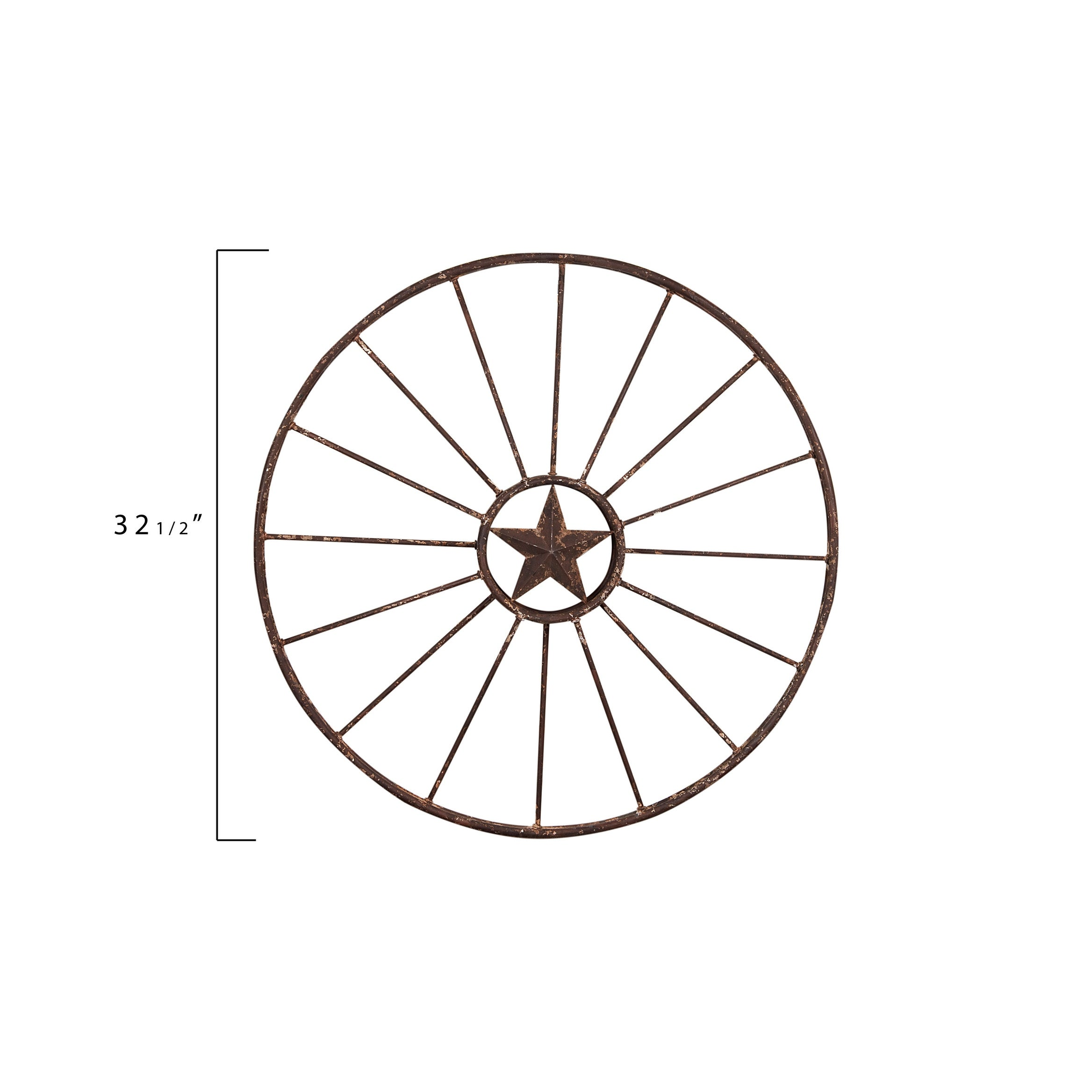 Wagon Wheel With Star Wall Decor Rust Overstock 31298551