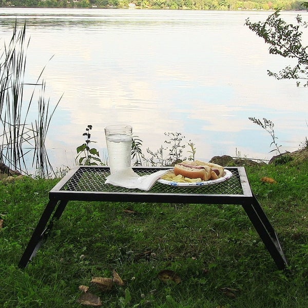 Sunnydaze Outdoor Camping and Patio Foldable Portable Tray Table - 24-Inch